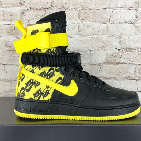Nike Air Force 1 High SF AF1 Black Yellow Shoes 17ad2f5c5